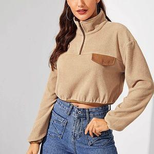 Camel Contrast Binding Zip Front Pullover Top